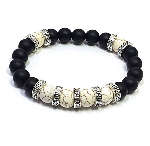 Men's Beaded Bracelet, Black and White Bracelet, Gift for Him, Beaded Stretch Bracelet