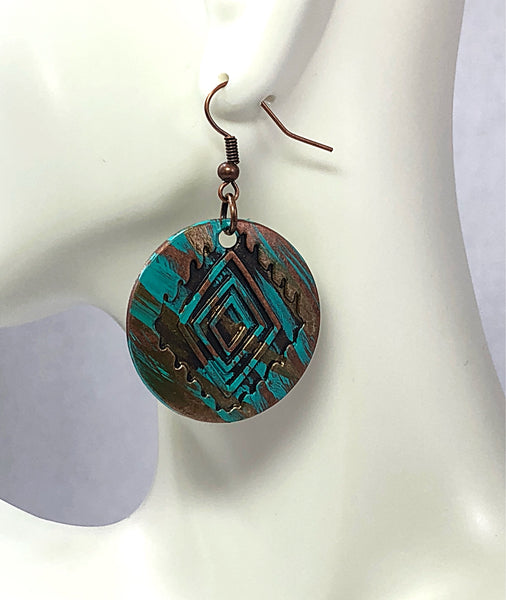 Painted Earrings, Stocking Stuffers, Aztec Inspired Earrings, Tribal Earrings, Patina Earrings