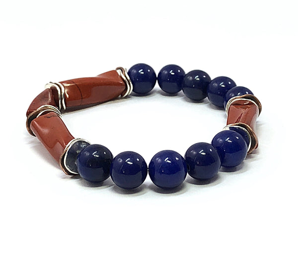 Red Jasper Bracelet, Boho Bracelet, Men's Beaded Bracelet, Blue Lapis, Gemstone Jewelry