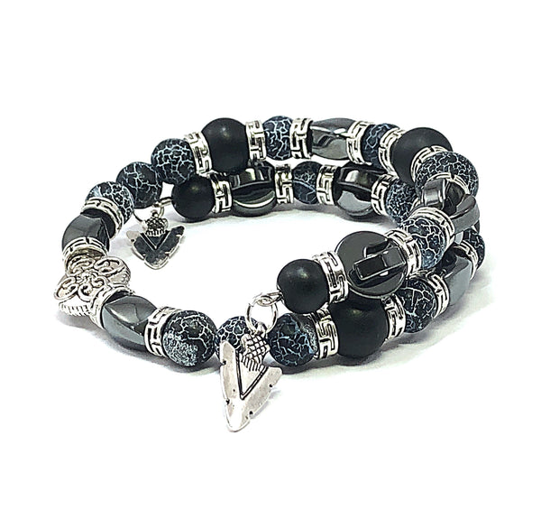 Men's Beaded Bracelet, Memory Wire Bracelet, Black Onyx Bracelet, Fire Crackle Agate