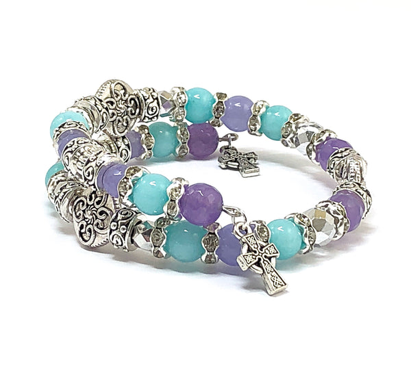 Aquamarine Bracelet, Gemstone Jewelry, Purple Jade Bracelet, Multi-Gemstone Bracelet