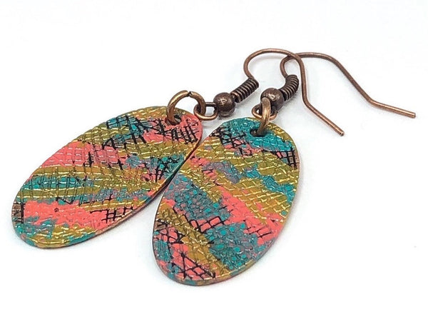 Hand Painted Dangle Earrings, Retro Hippie Earrings