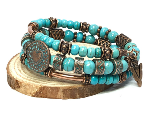 Beaded Turquoise Bracelet, Turquoise and Copper Bracelet, Unisex Bracelet