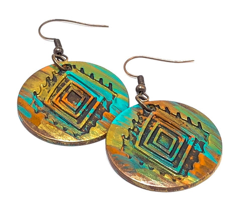 Aztec Inspired Earrings, Gift Ideas for Her, Painted Earrings, Patina Earrings