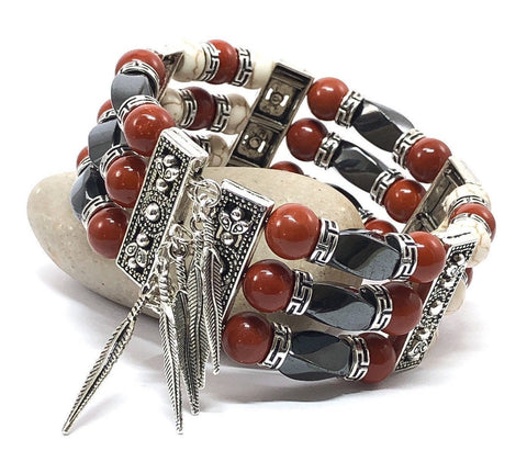 Cuff Bracelets for Men Women, Red Jasper and Hematite