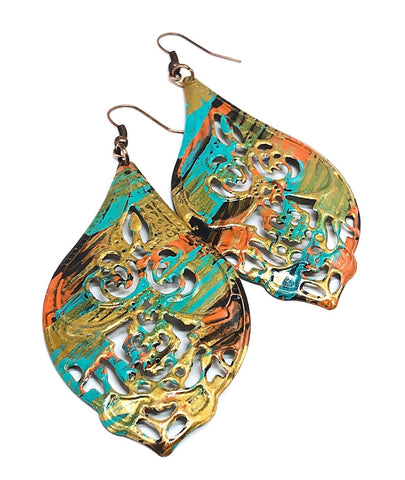 Long Dangle Earrings, Gift Ideas for Her, Hand Painted Earrings