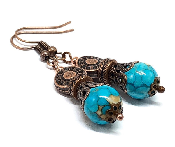 Turquoise and Copper Drop Earrings
