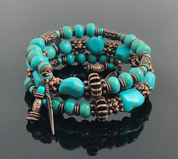 Unisex Bracelet, Turquoise and Copper Jewelry, Feather Jewelry, Unique Gifts