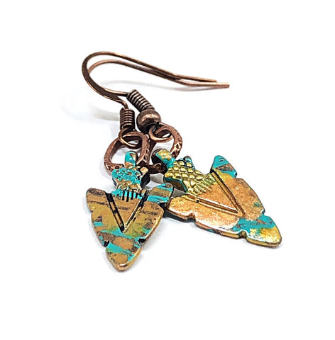 Copper Charm Earrings, Petite Dangle Earrings, Hand Painted Earrings