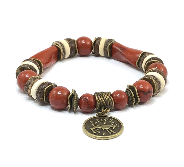 Zodiac Bracelet, Red Jasper Bracelet, Astrology Jewelry, Men's Stretch Bracelet, Zodiac Jewelry