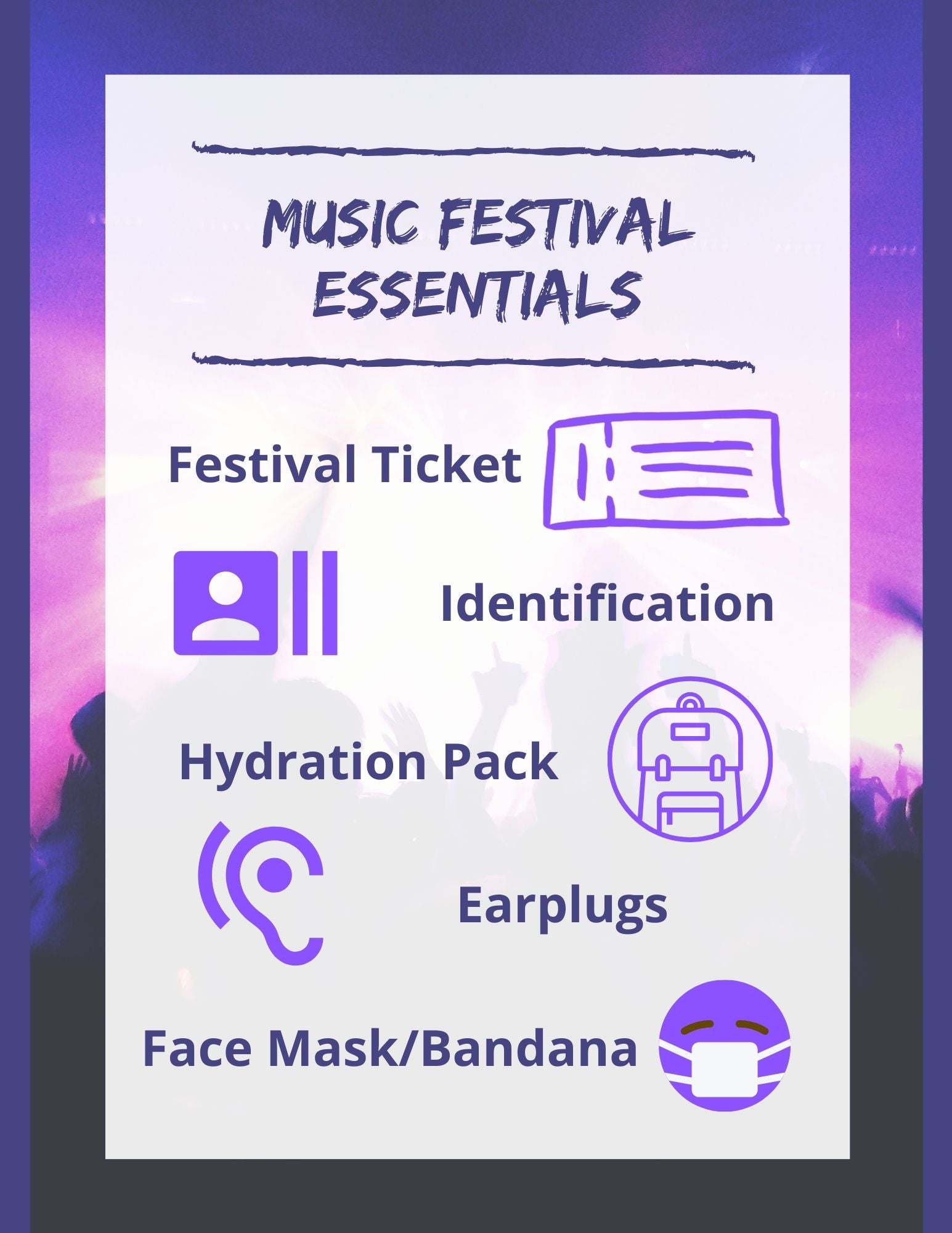 What to bring to a music festival