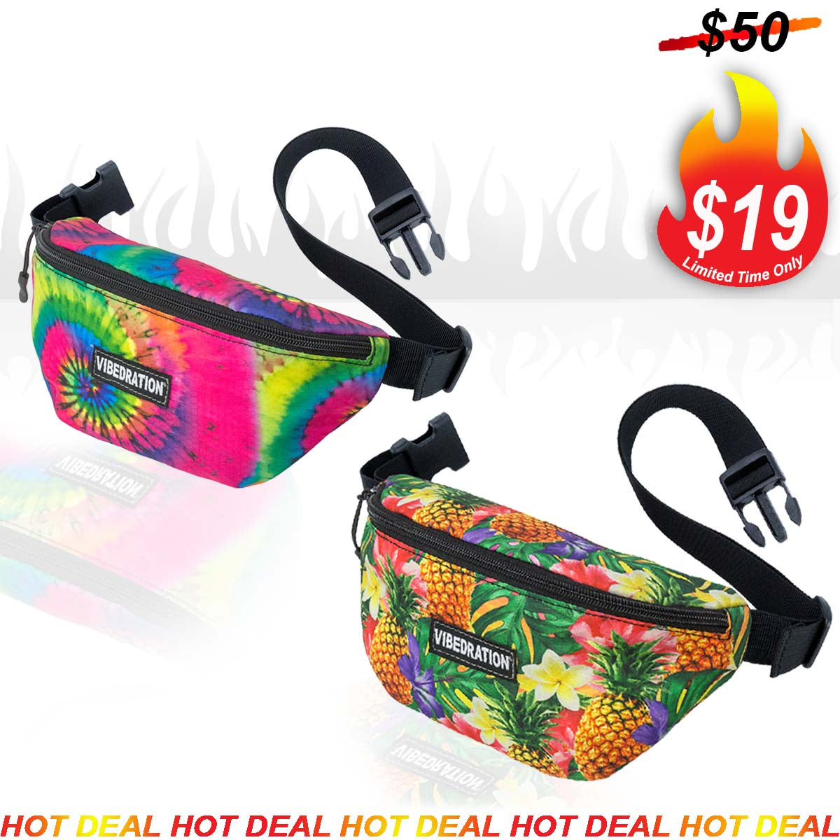 Tie Dye and Tropical Hawaiian fanny waist pack