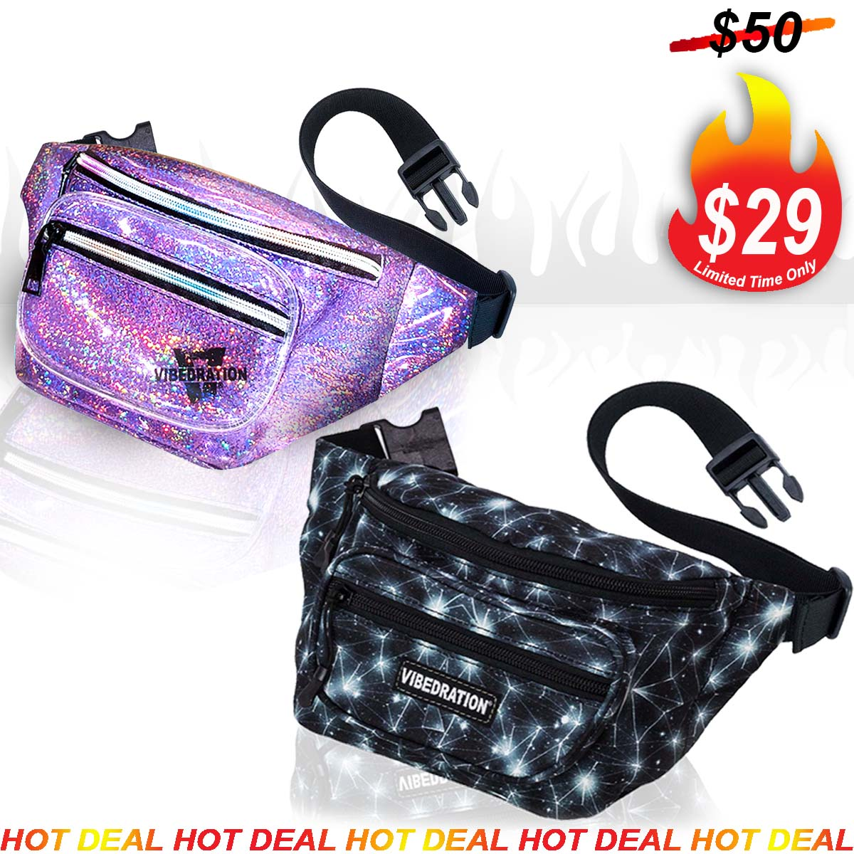 Lavender Sparkle Holographic Sling Pack and Black Space Multi Pocket Waist Bag