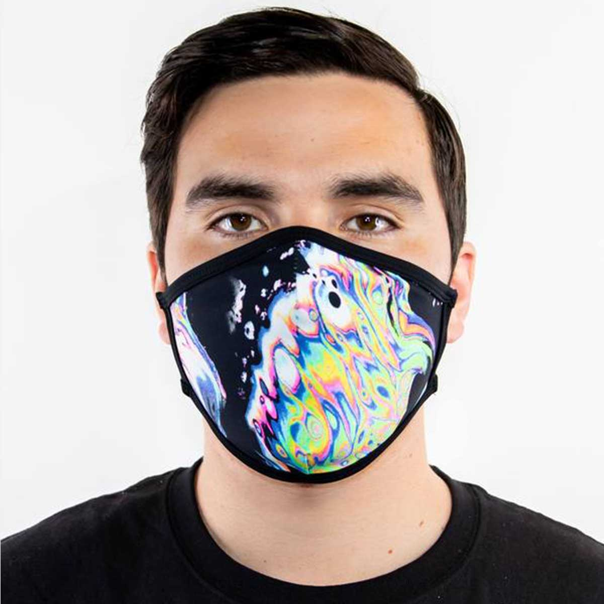 male wearing cute psychedelic face mask