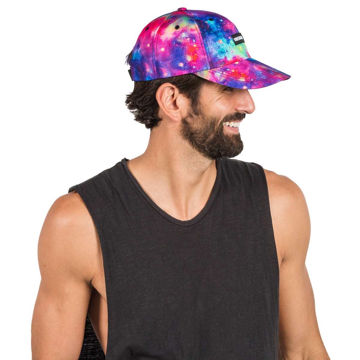 Adjustable Galaxy Printed Hat for Music Festivals and Raves