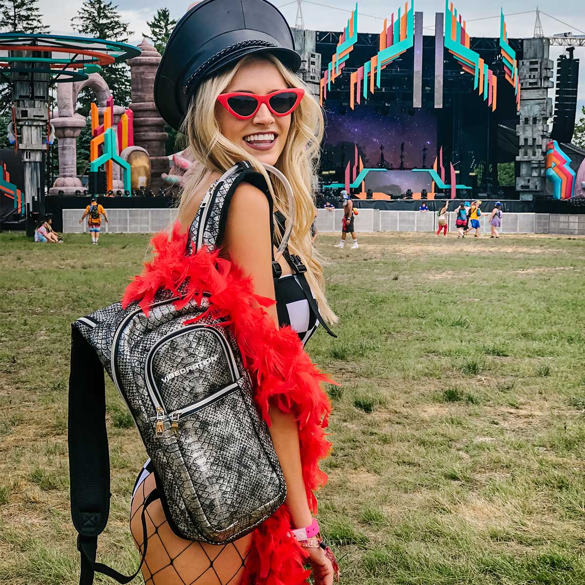 Black faux leather water pack for music festivals