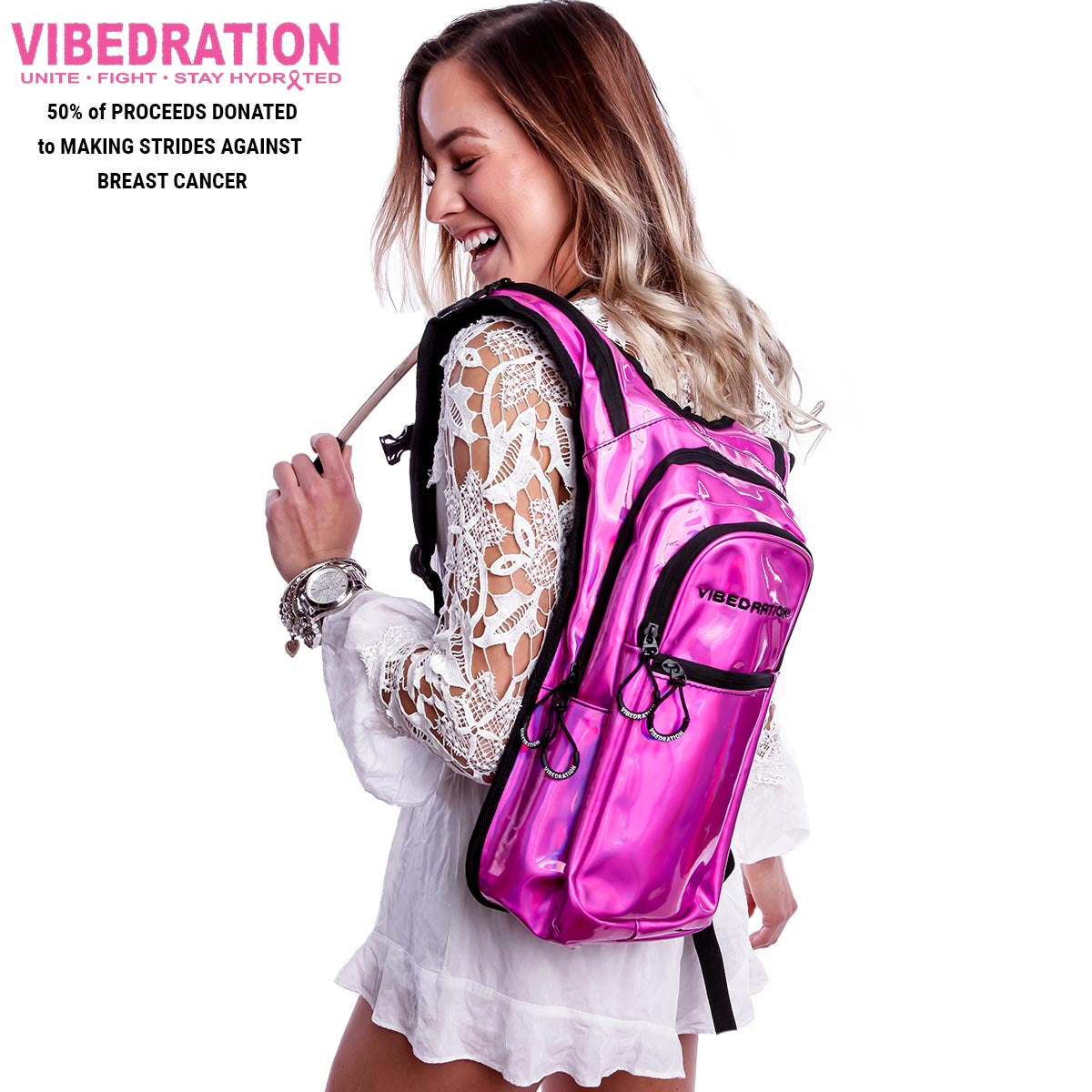 Female wearing Pink holographic hydration pack