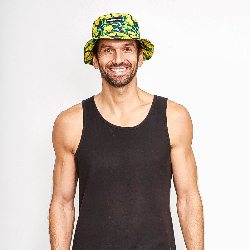 male wearing lemons rave bucket hat