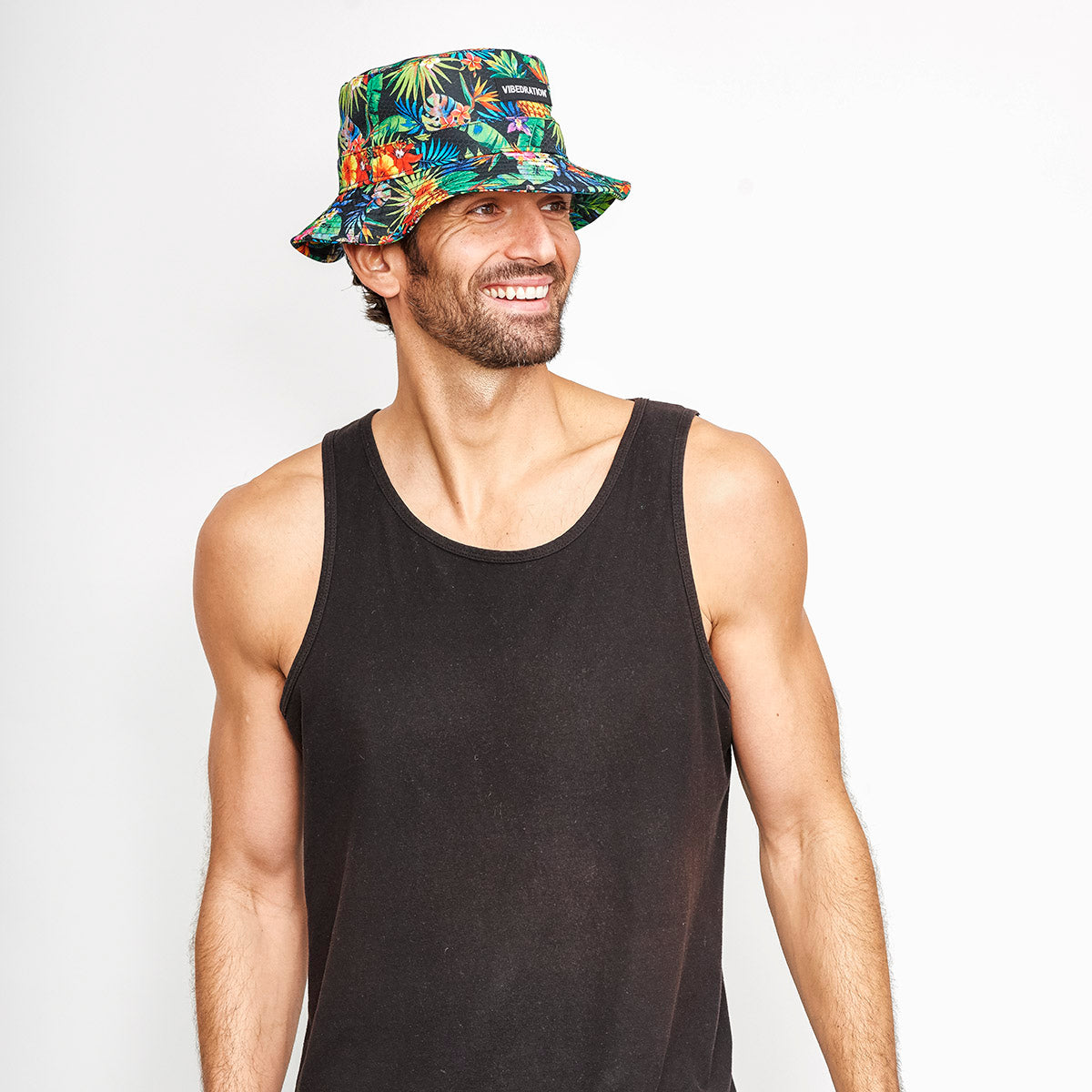male wearing tropical rave bucket hat