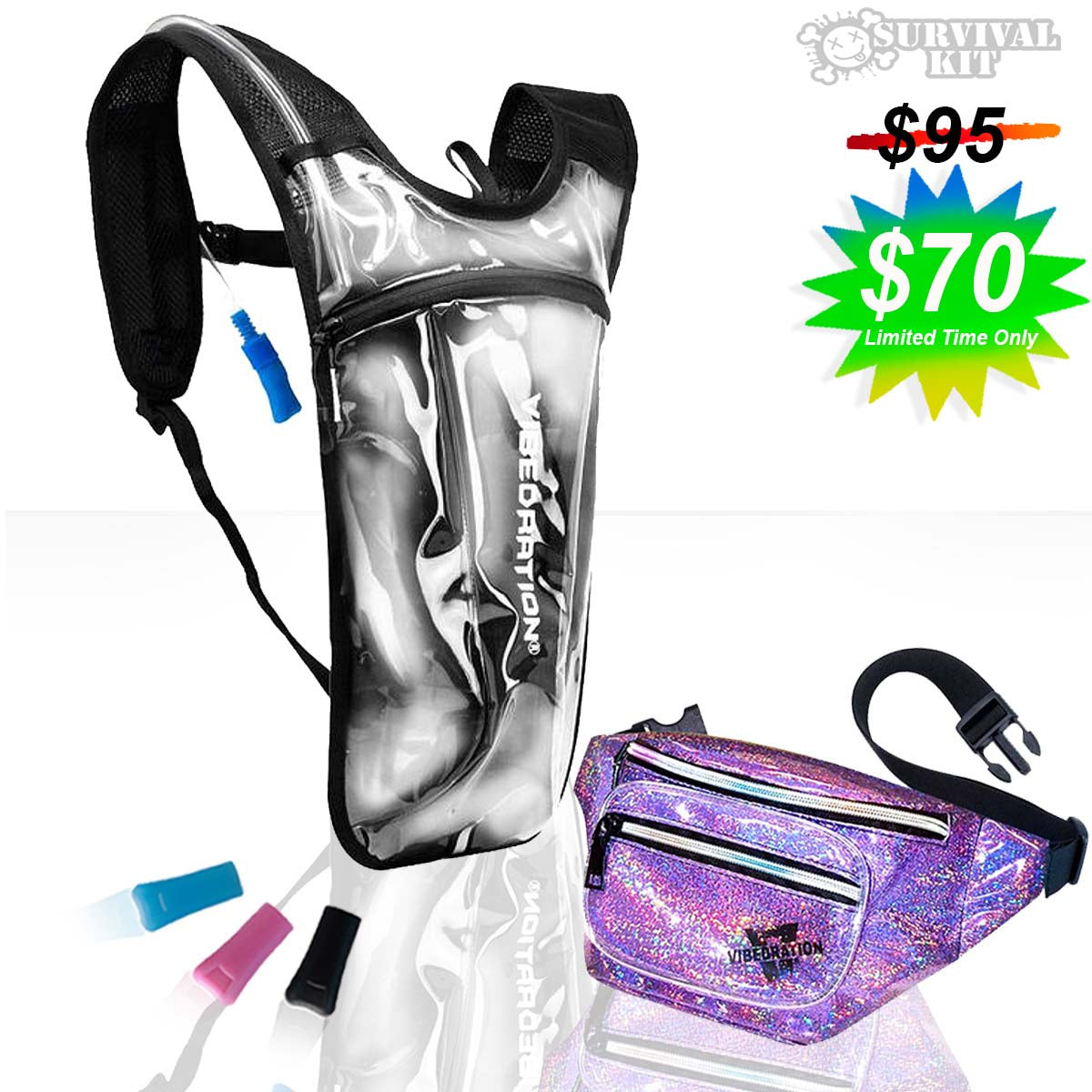 Clear water pack and lavender holographic fanny pack