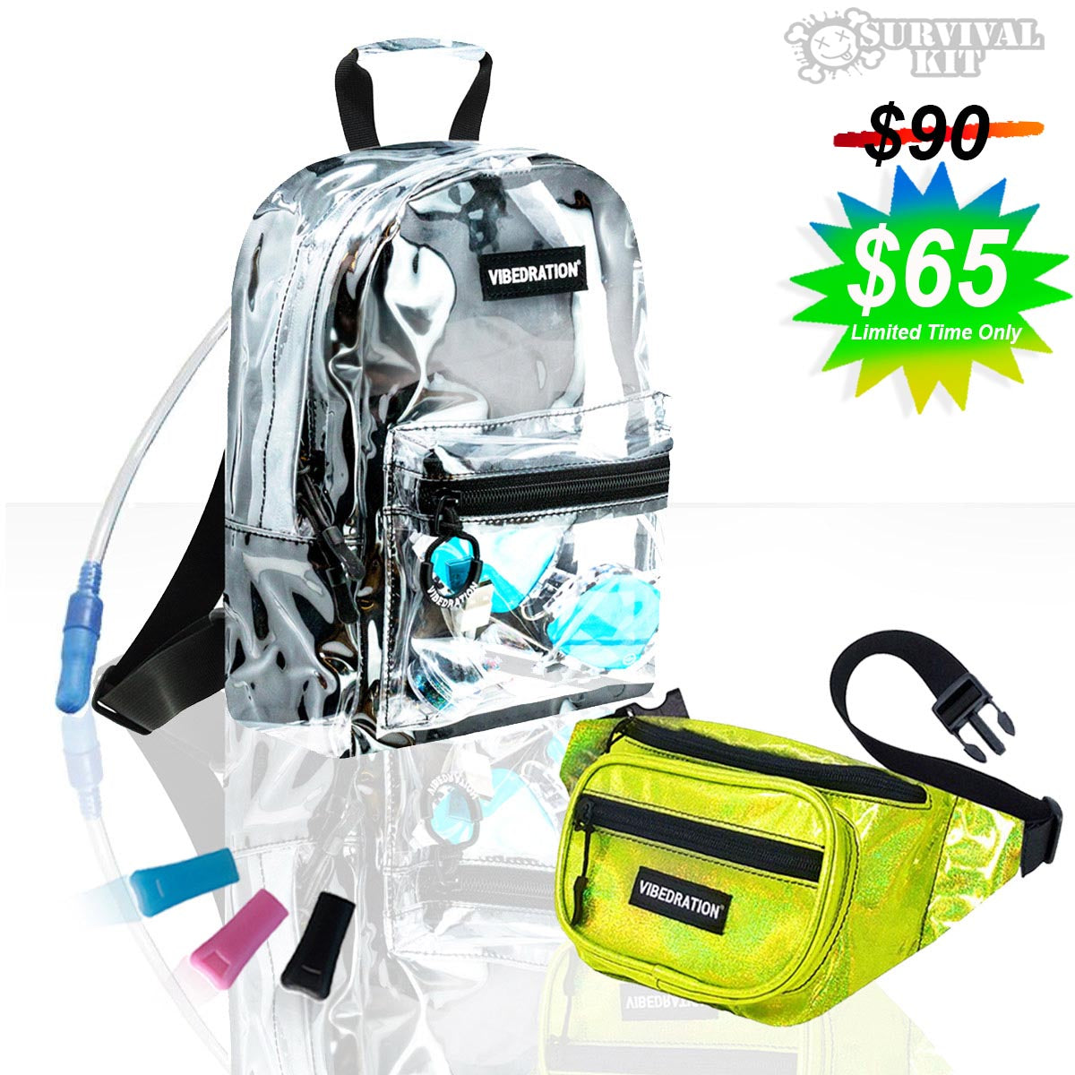 Festival Survival Kit includes Mini Hydration Pack and Fanny Pack