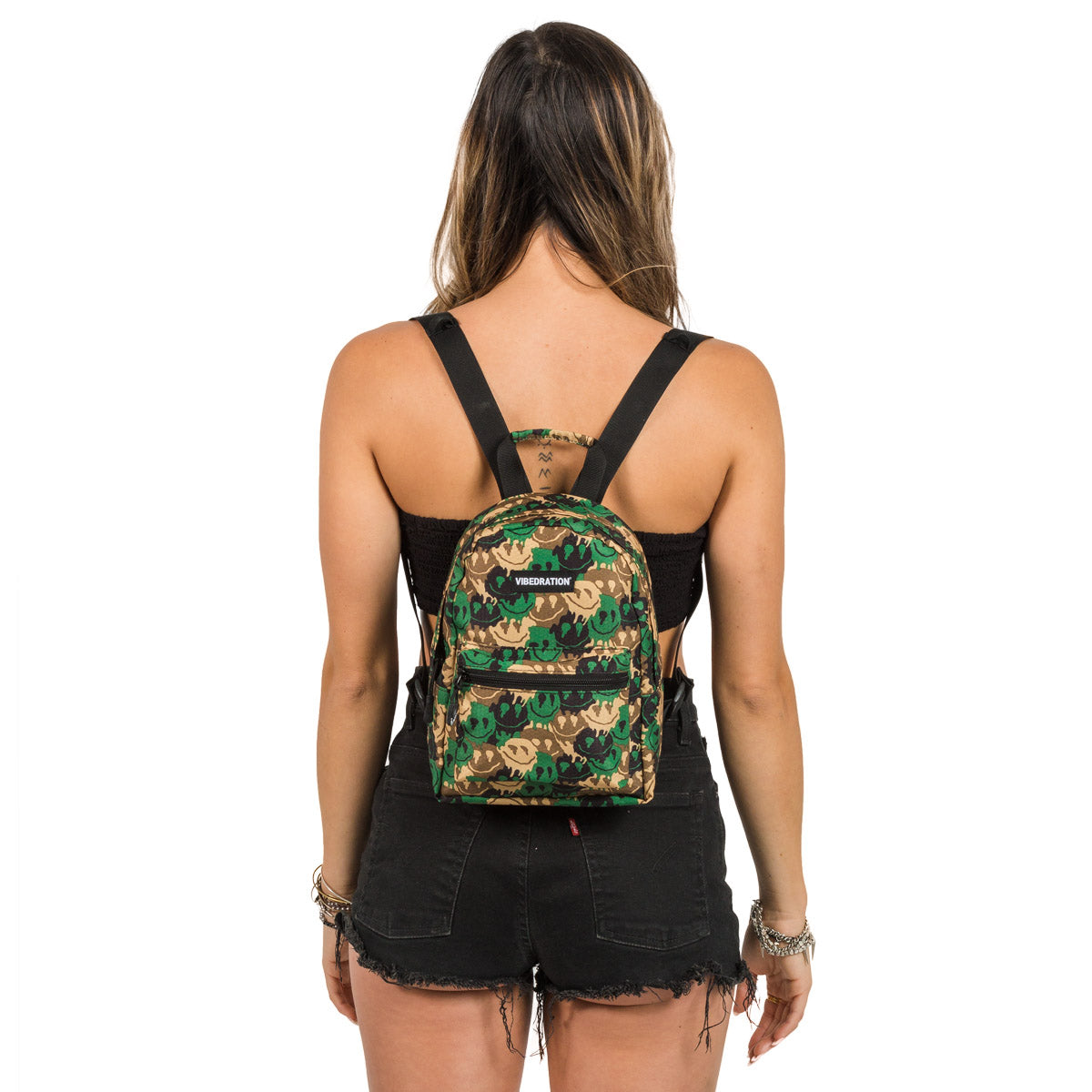 Trippy Camo Mini Backpack for Raves and Festivals