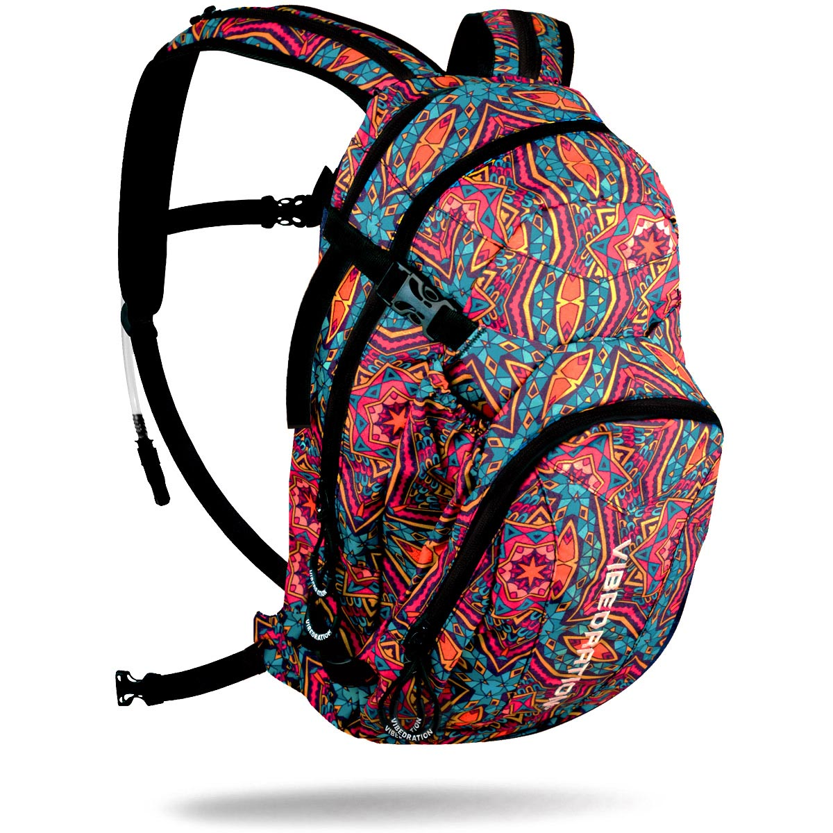 Bohemian hydration pack with three liter water reservoir and three storage pockets.