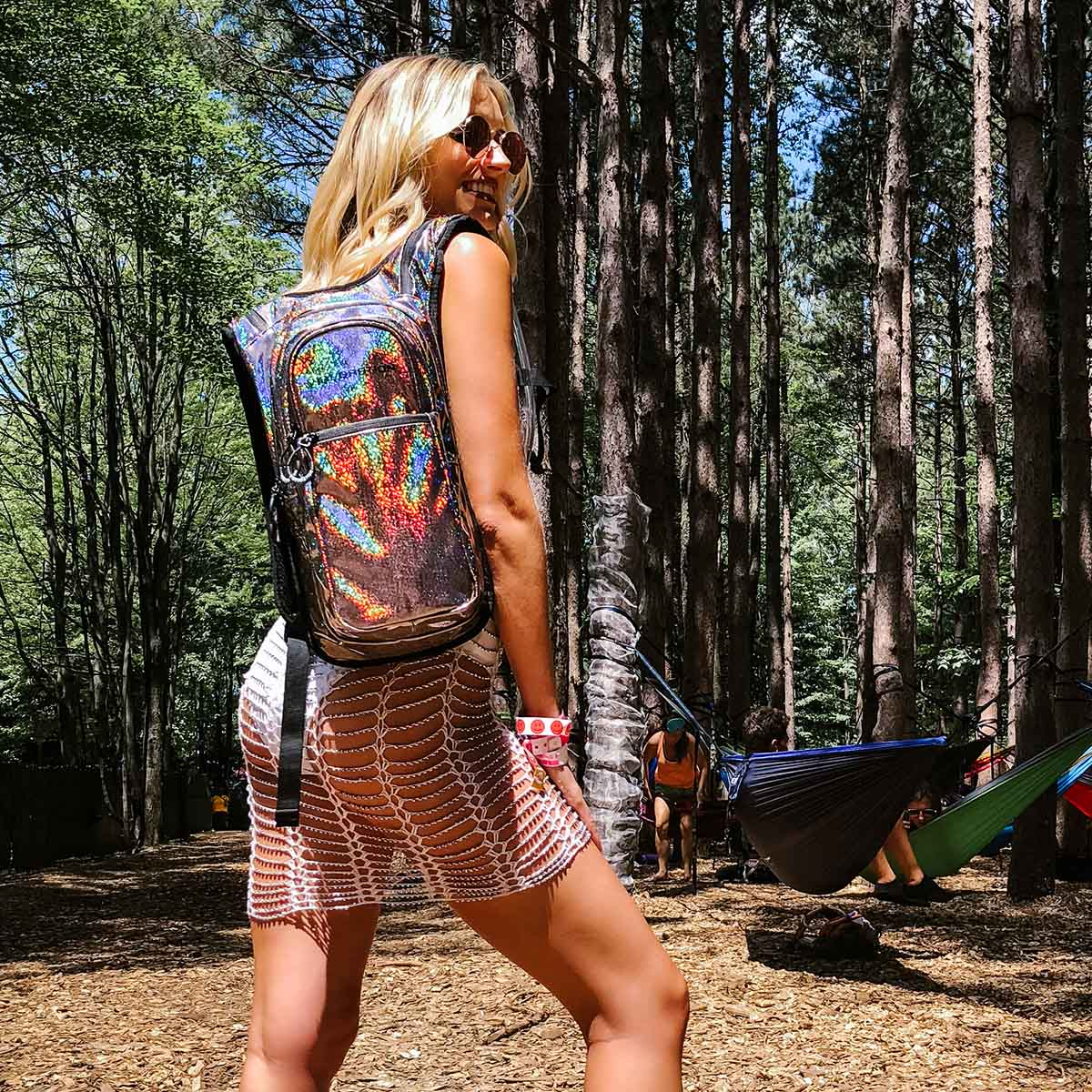 Glitter holographic hydration pack for music festivals