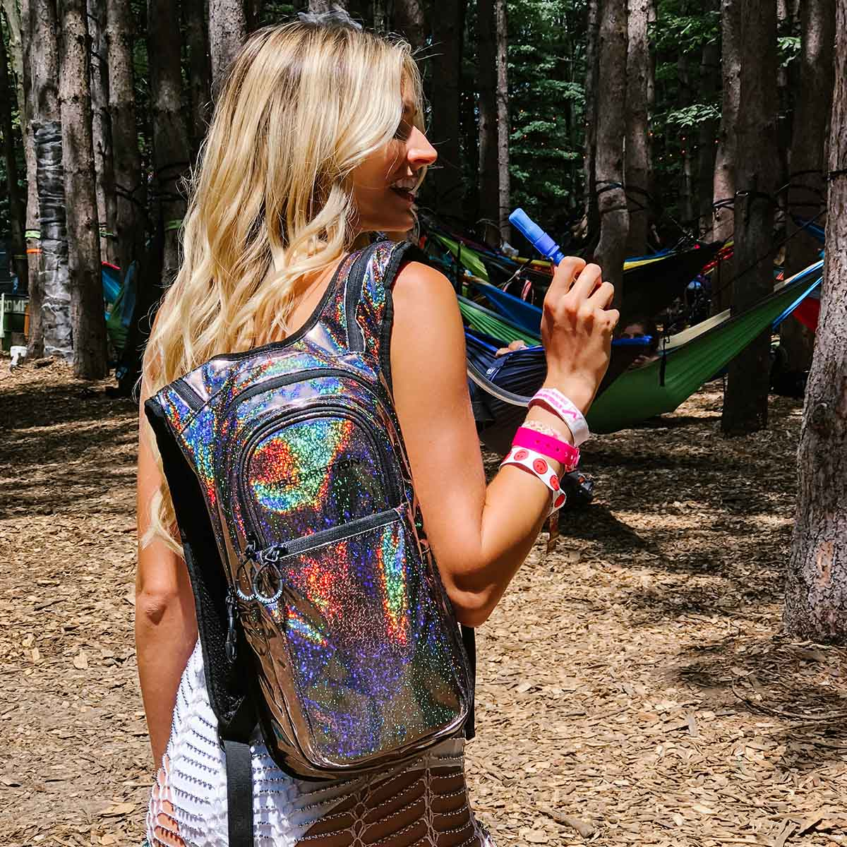 Sparkly holographic hydration pack with 2 liter water bladder