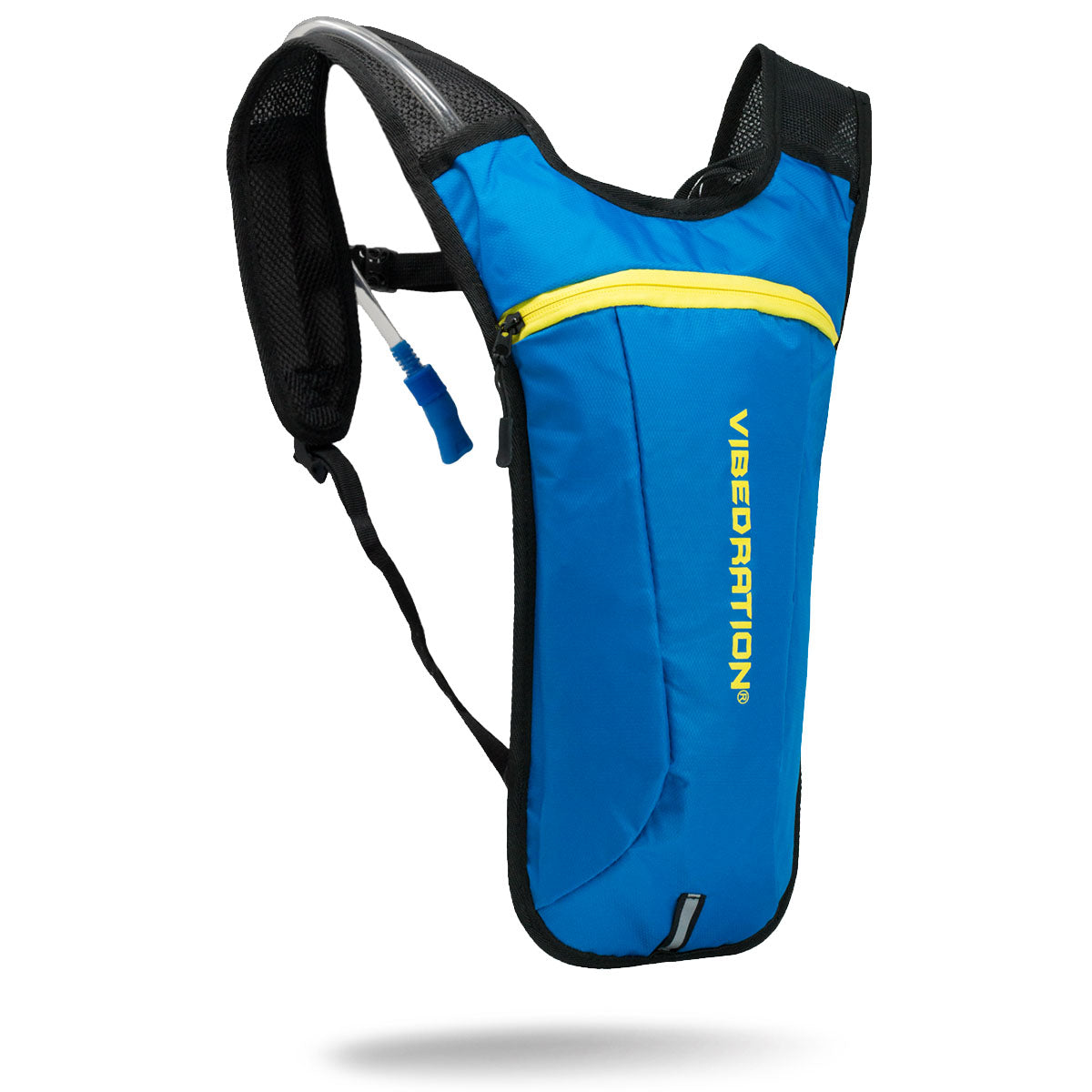 Baby blue hydration pack with storage pocket and two liter water bladder