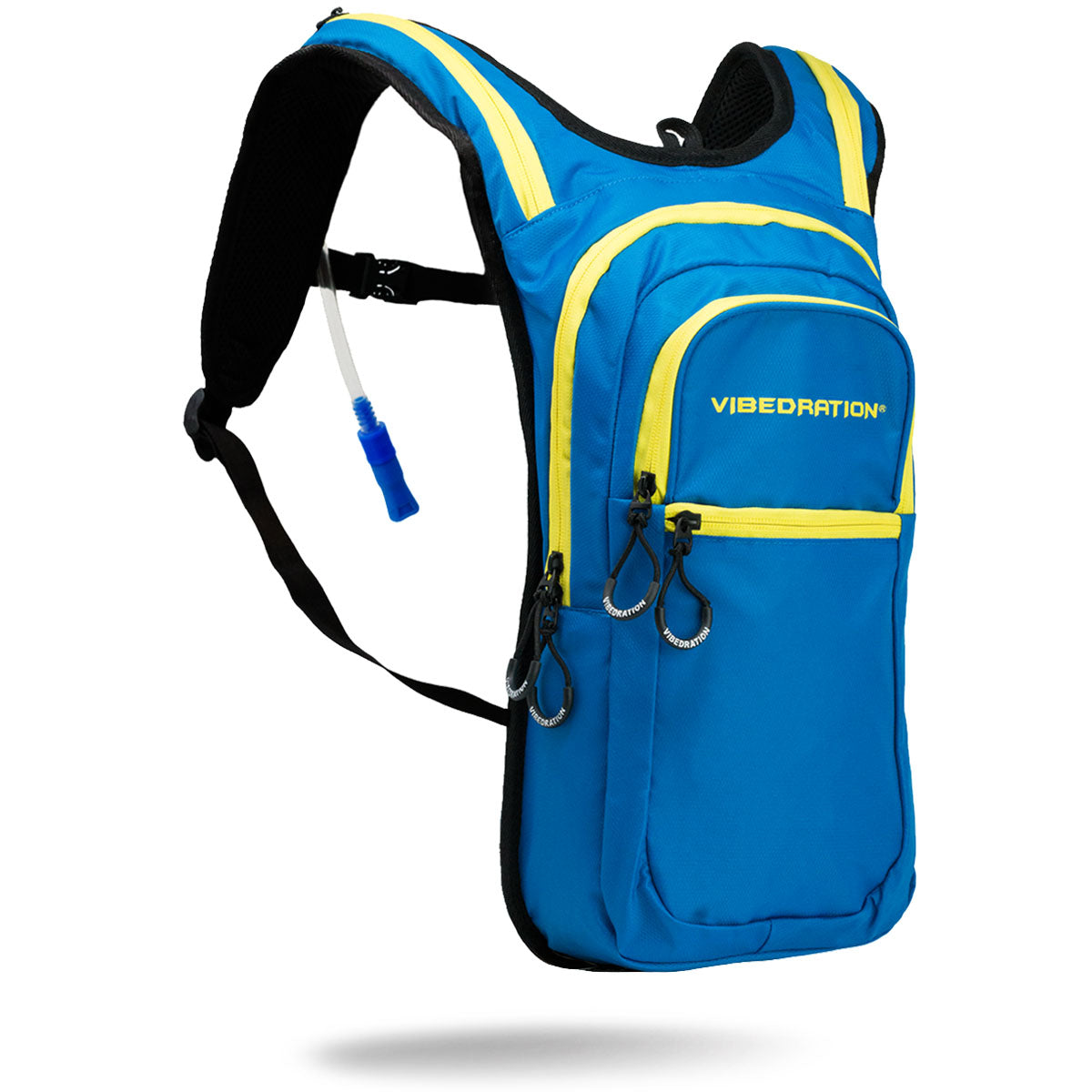 Baby blue and yellow hydration pack with three pockets and 2 Liter water bladder