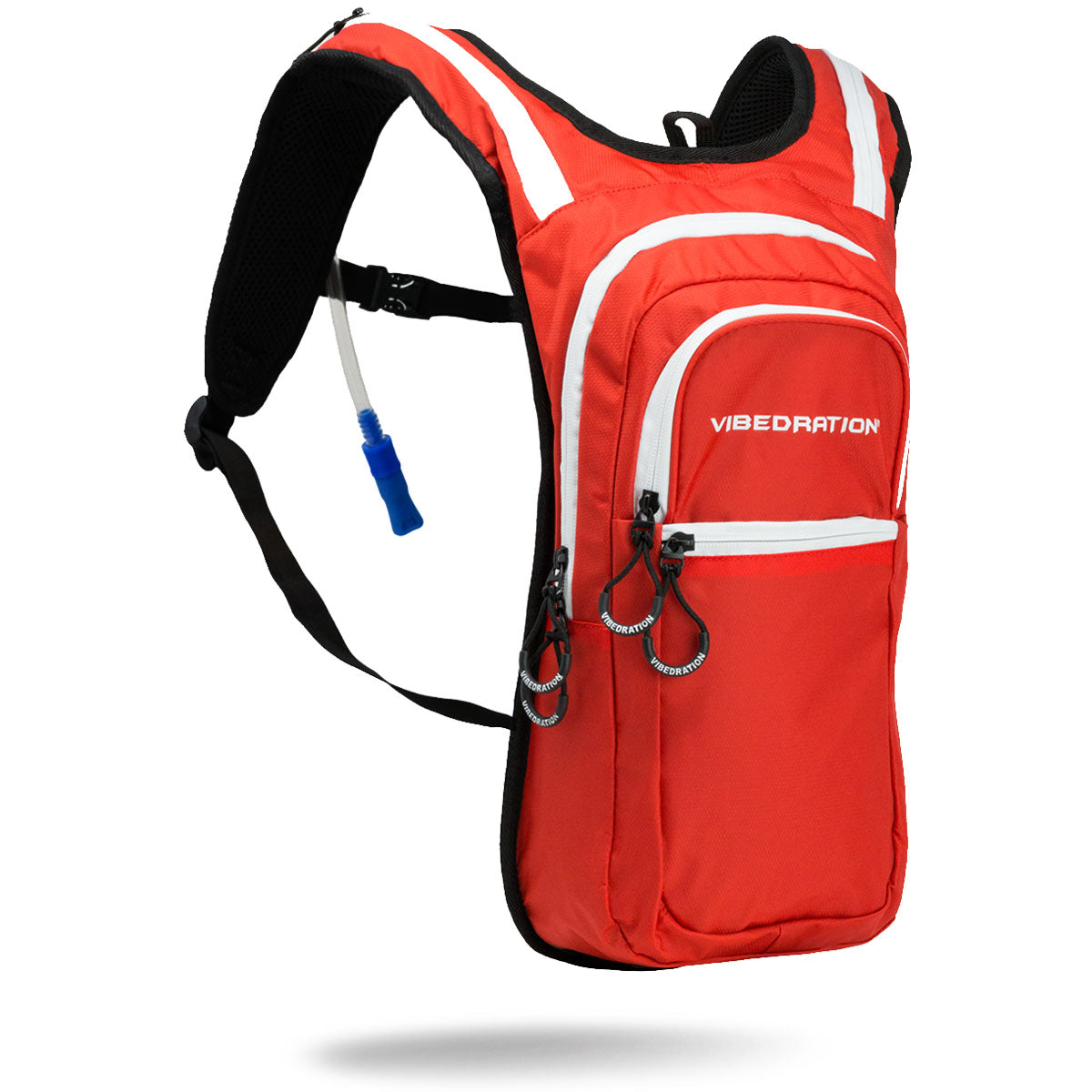 Red and white 2 Liter hydration pack with three pockets