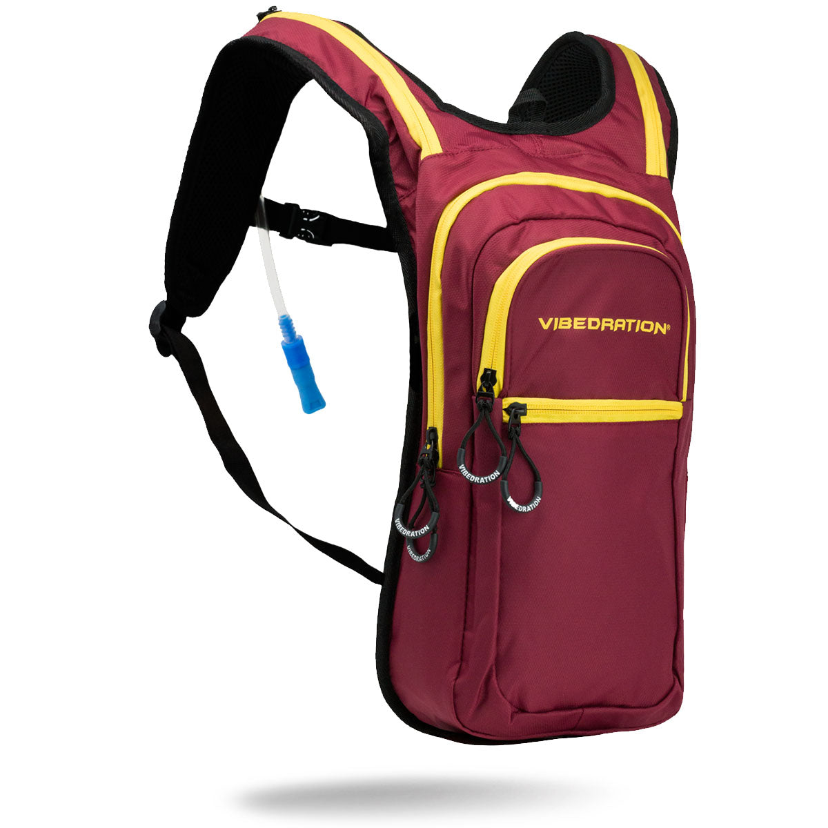 Maroon water backpack with gold zippers