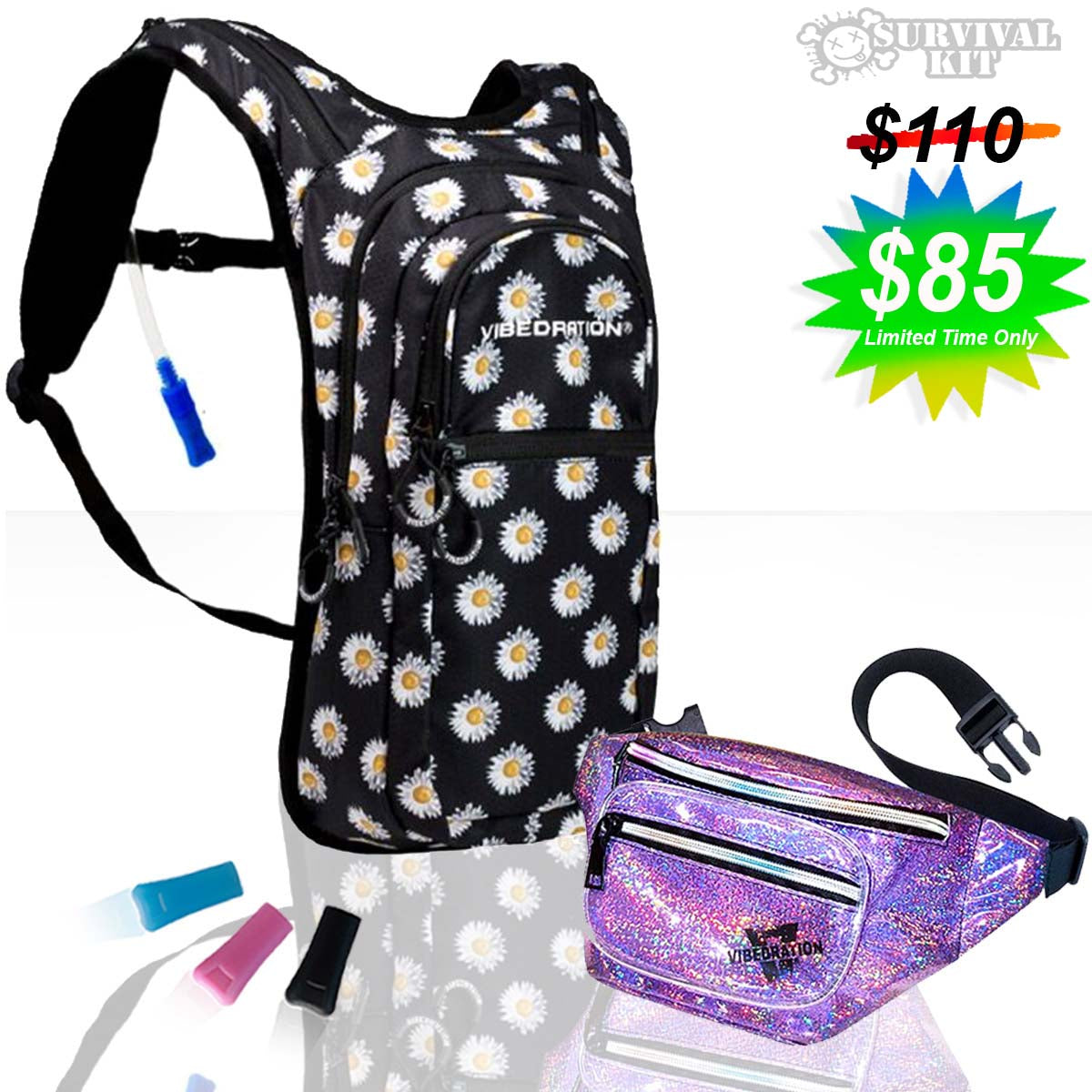 Flower printed 2 Liter hydration pack and purple holographic sling pack with sparkles