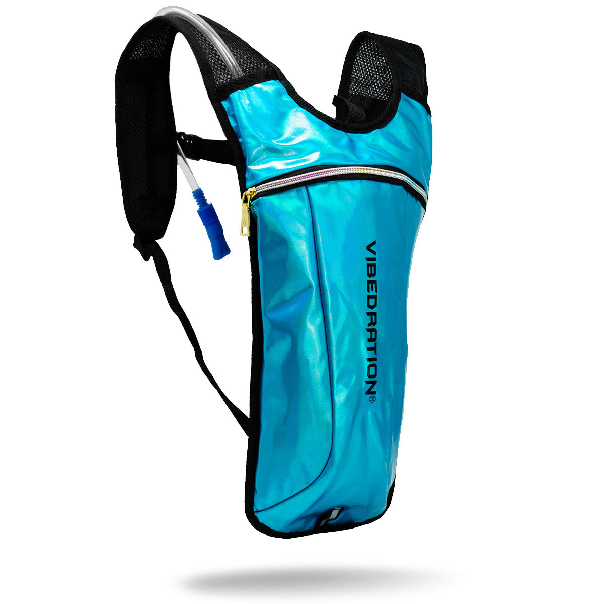 Vegan Leather Shiny Blue Hydration Pack with rainbow zipper and gold zipper puller.