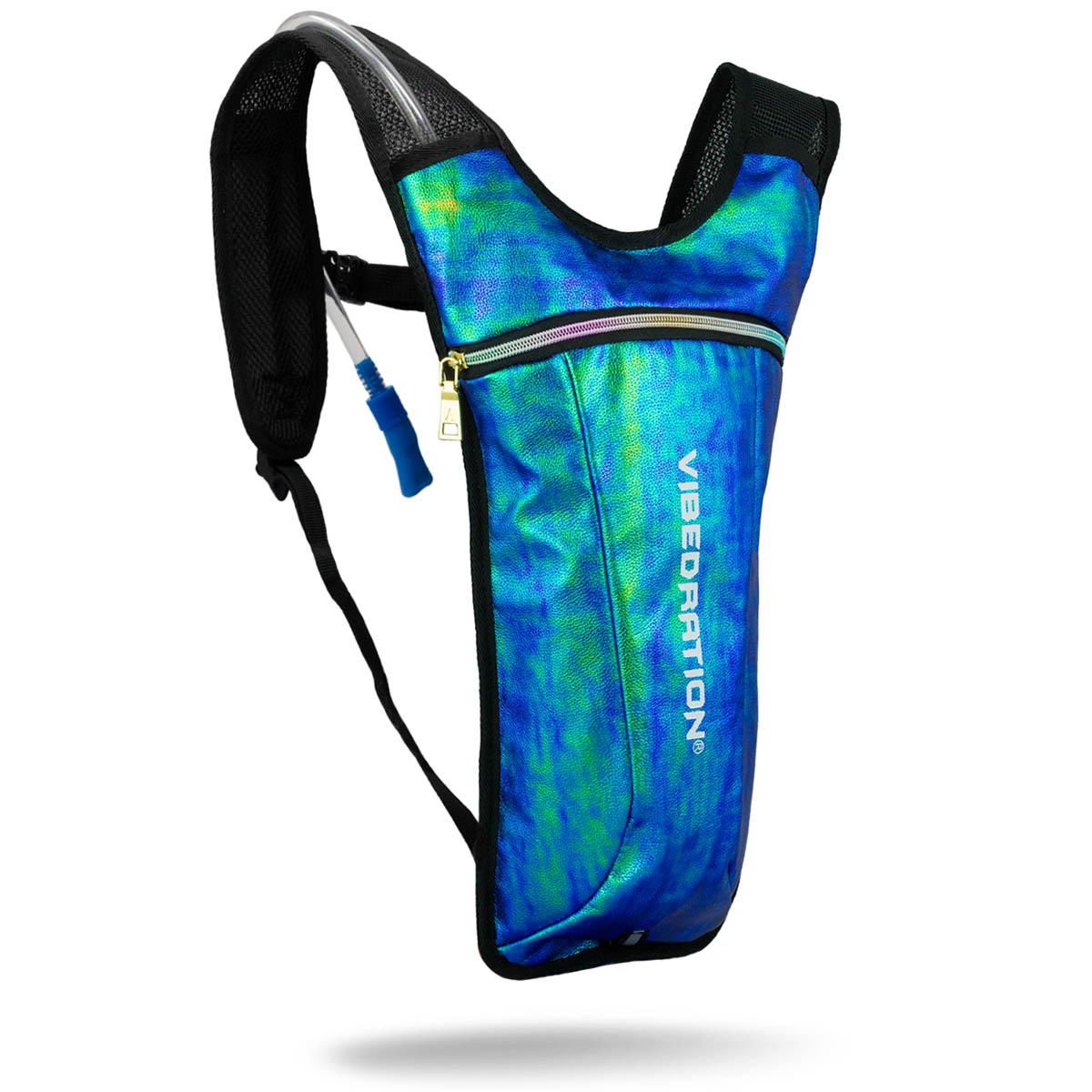 Mermaid hydration pack for raves with two liter water bladder