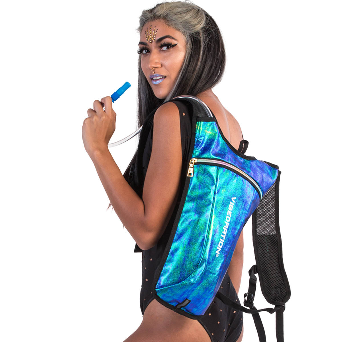 Female wearing vegan faux leather Mermaid designer hydration pack