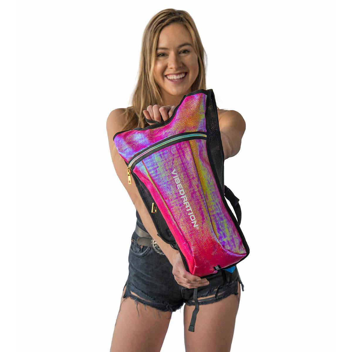 Pink shiny hydration pack for raves