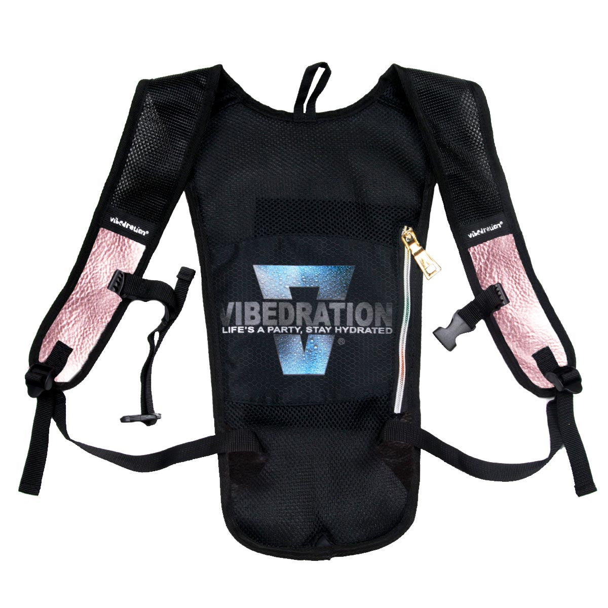Backside of Posh Pink Faux Leather hydration pack with rainbow zipper.