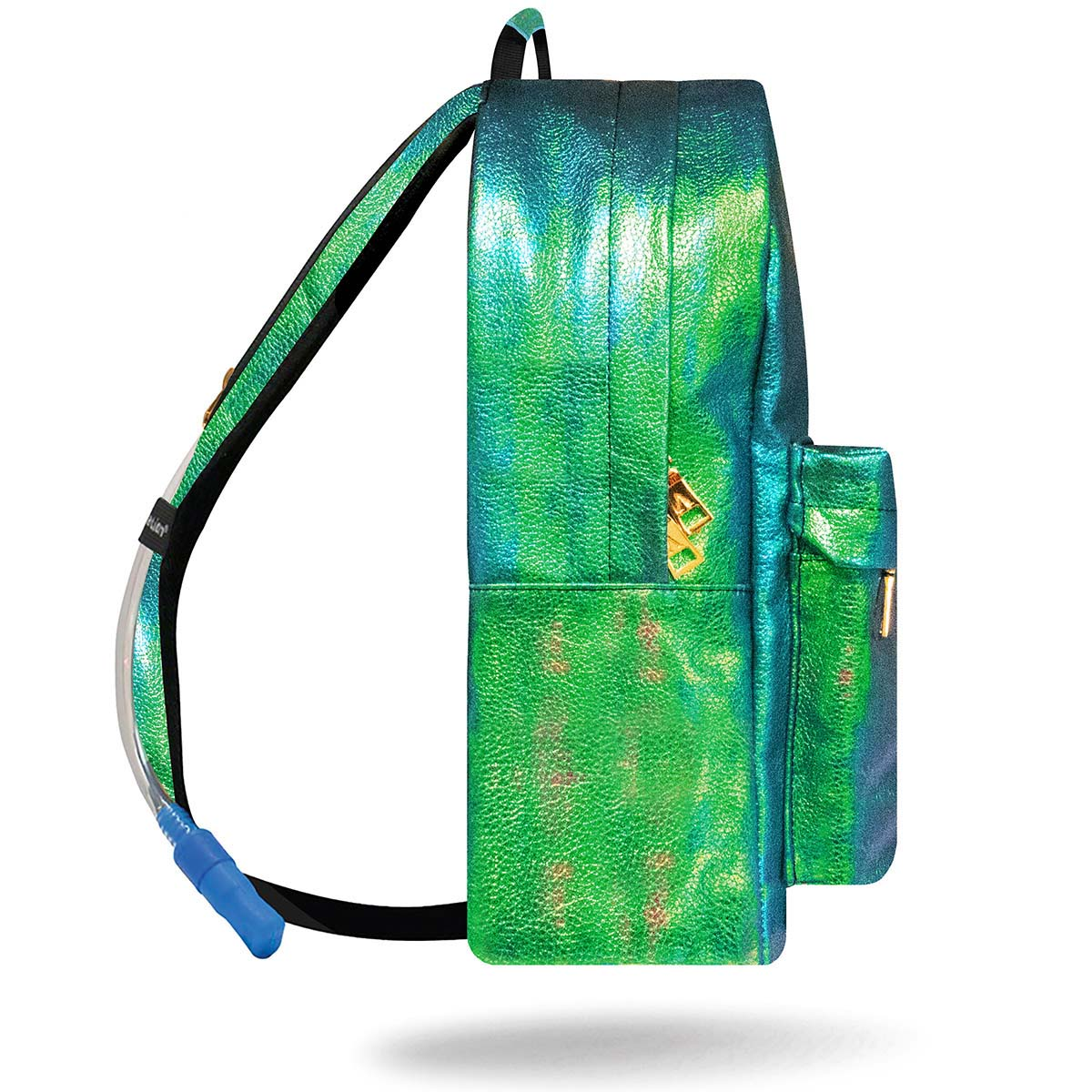 Side view of blue and green mermaid rave backpack