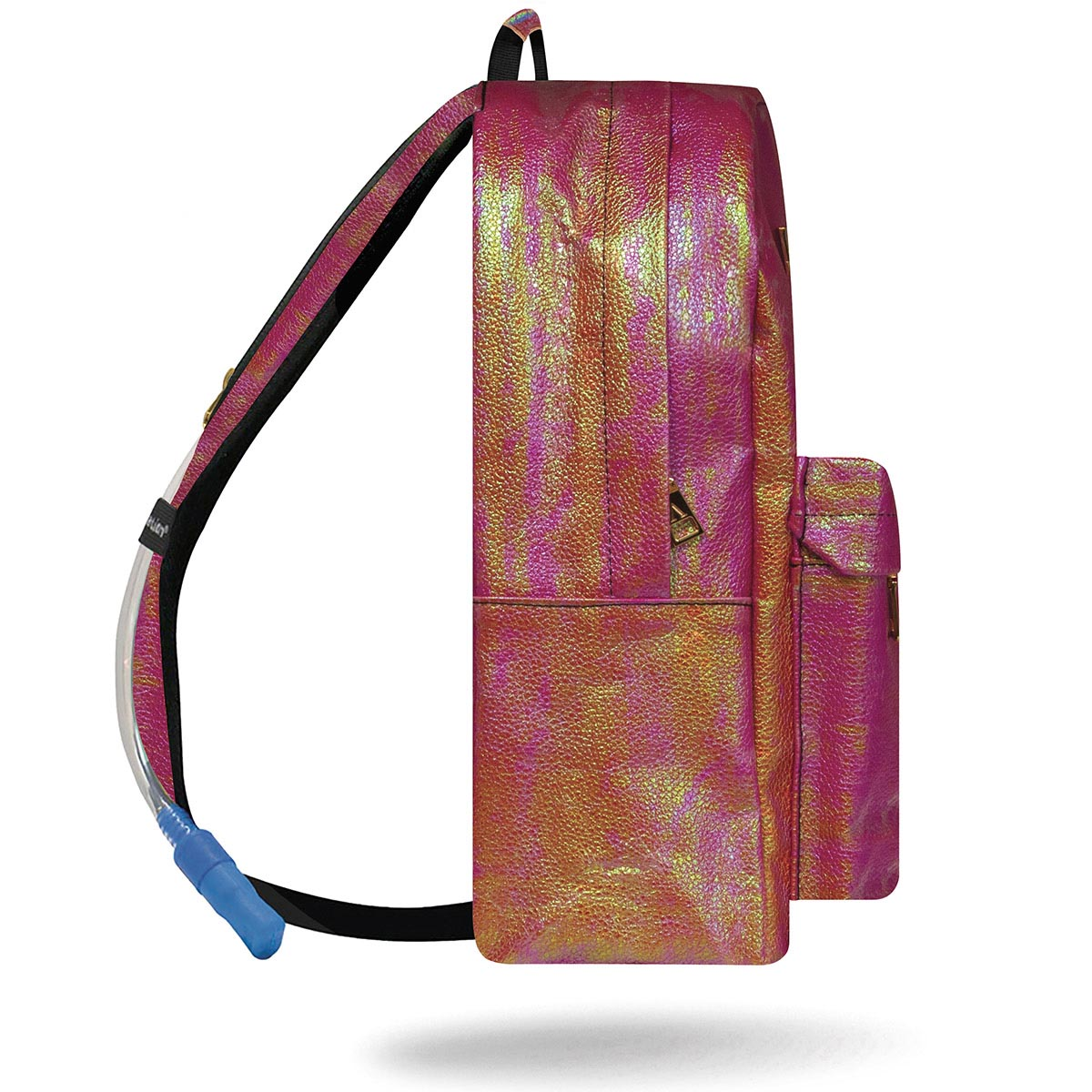 Side view of iridescent pink water backpack