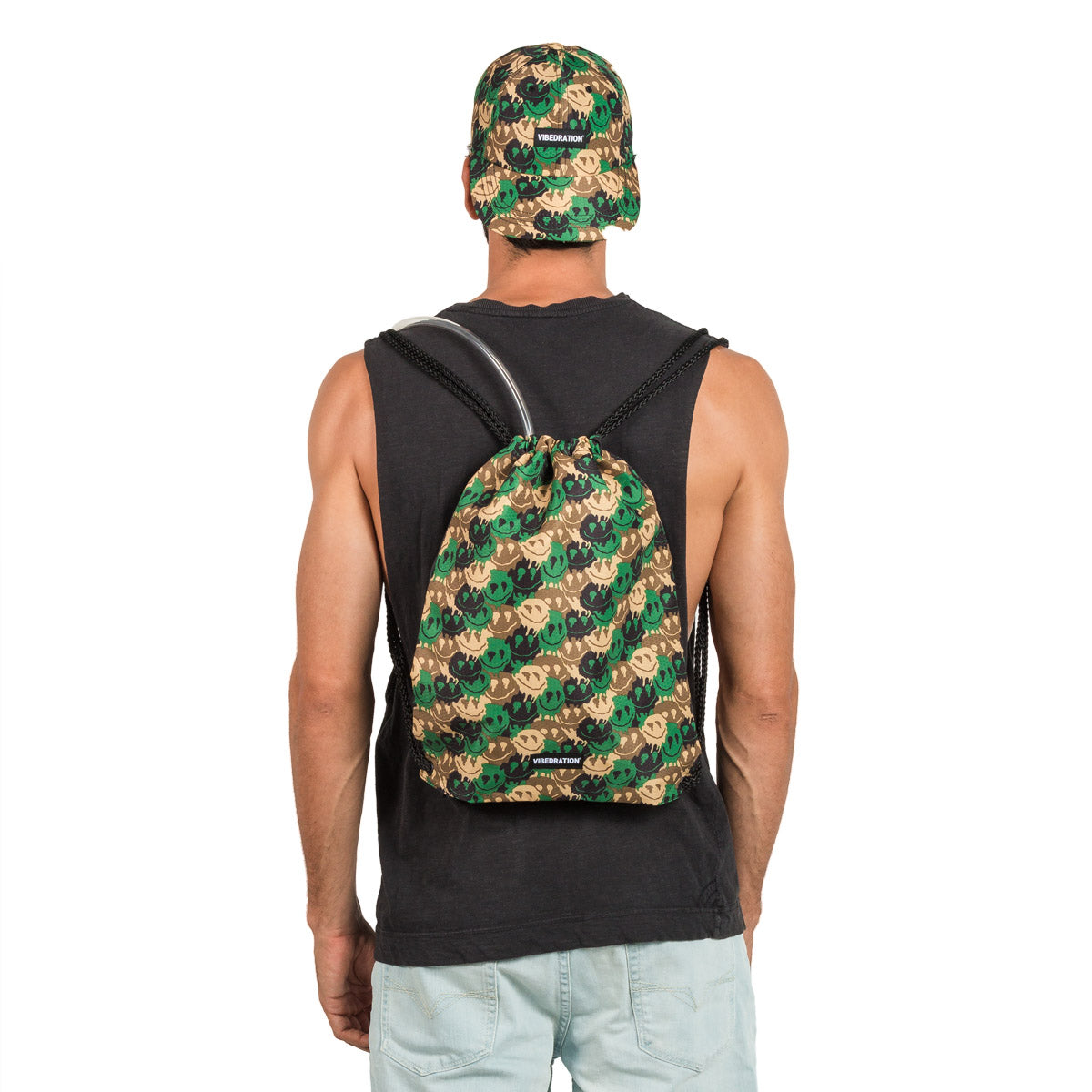 Male wearing Camo Printed Drawstring Bag