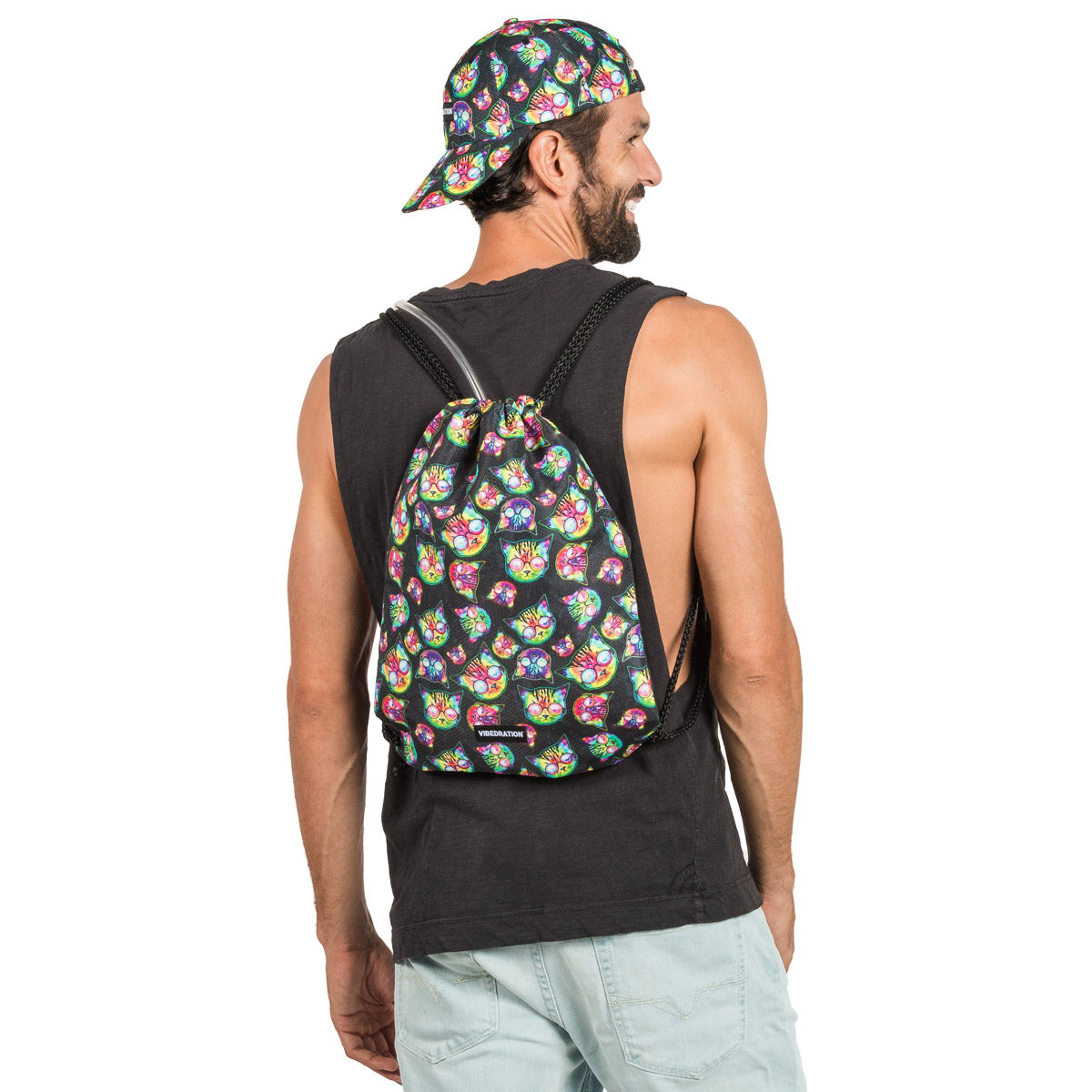 3 Liter Hydration Drawstring Backpack with Cats