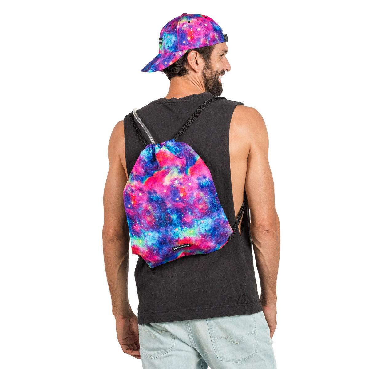 Galaxy Printed Drawstring Bag. Hydration Bladder Included