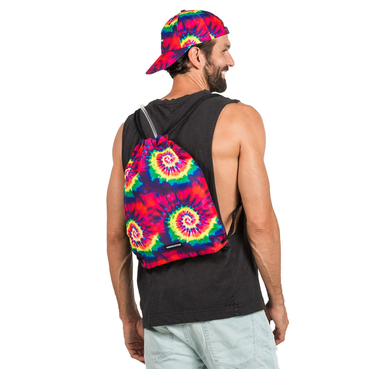 Tie Dye drawstring backpack with 3 liter hydration bag