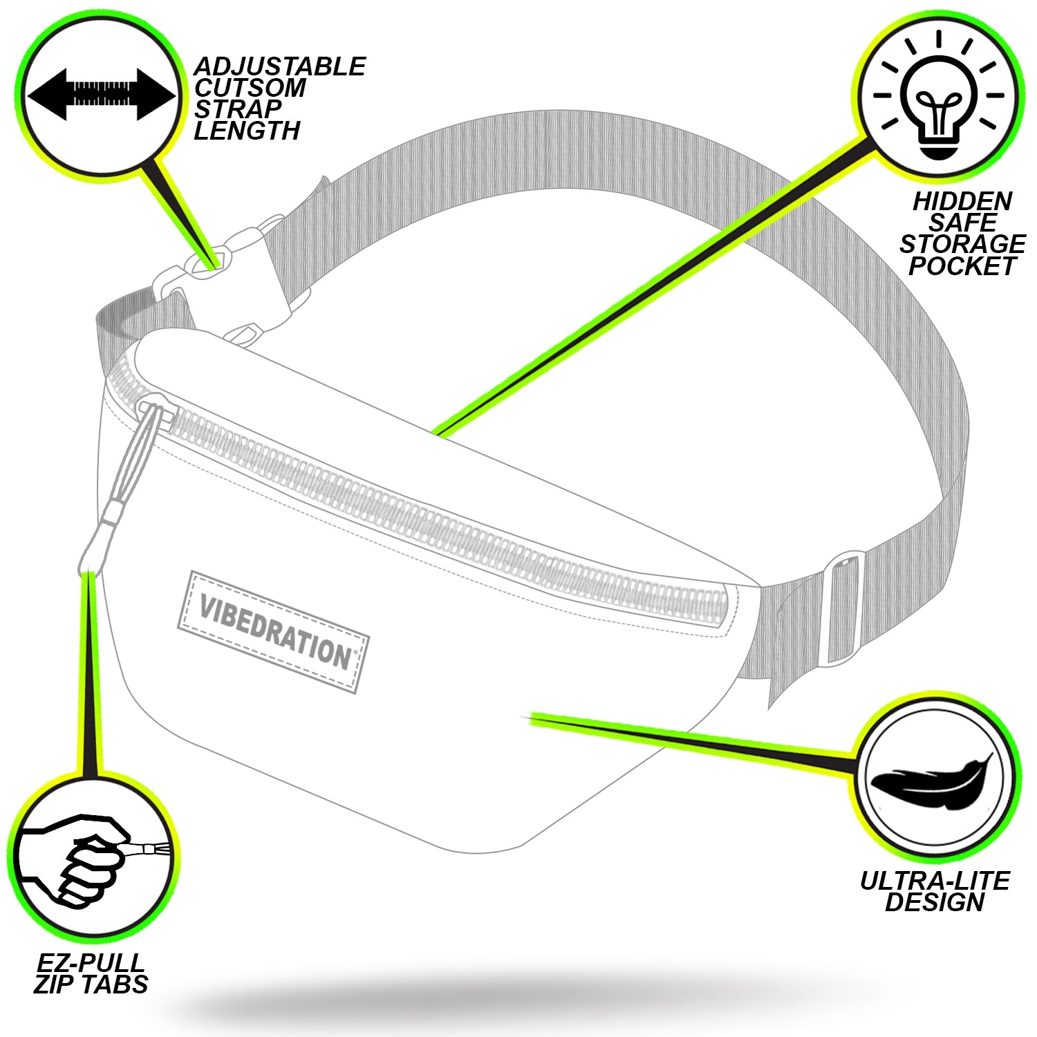 Holographic neon fanny pack for music festivals