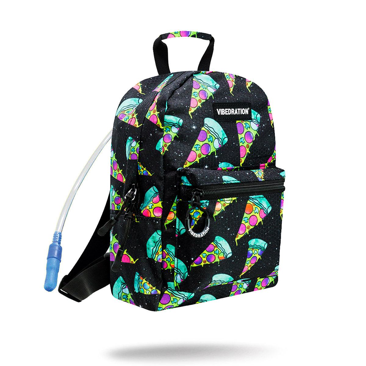 Black Trippy Melting Pizza Mini Backpack with 1 liter hydration bag