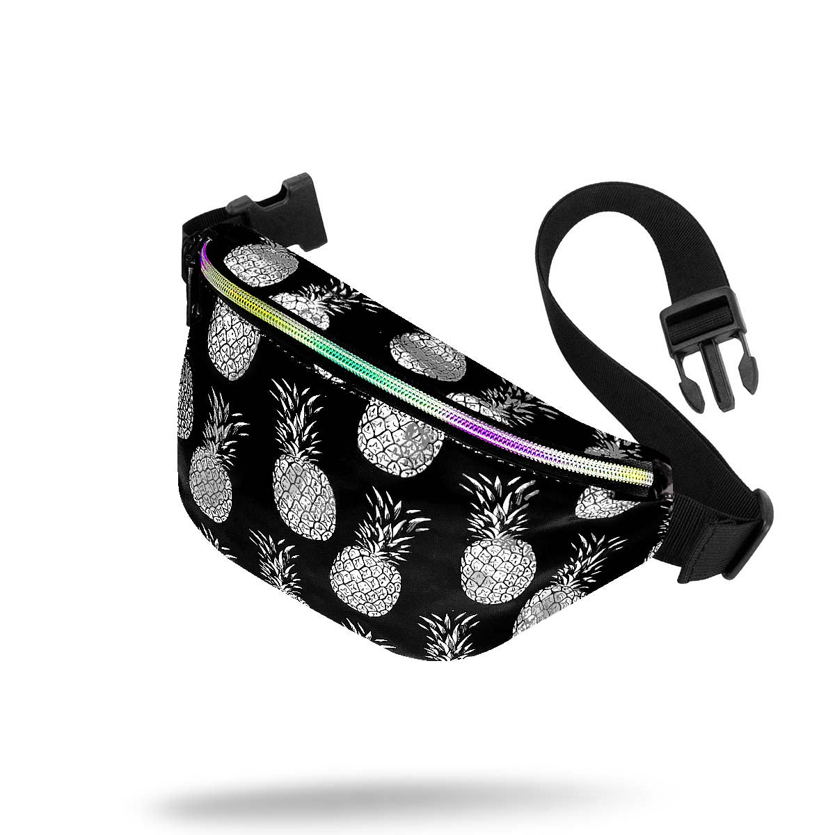 Black Silver Holographic Pineapple Small Waist Pack Alt