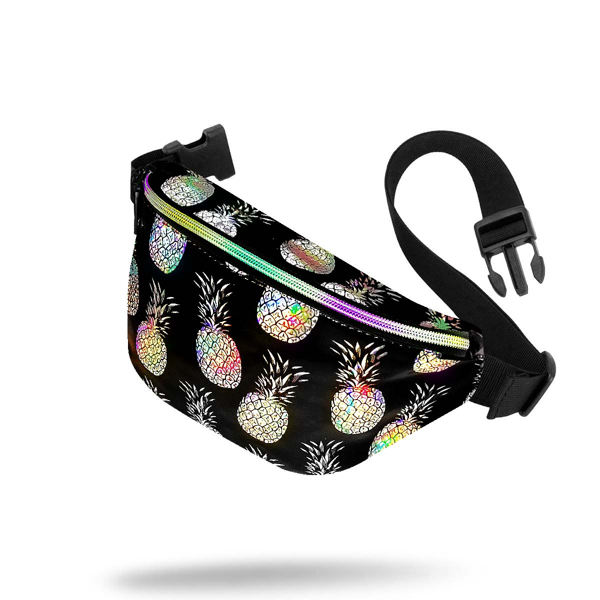 Black Silver Holographic Pineapple Small Waist Pack