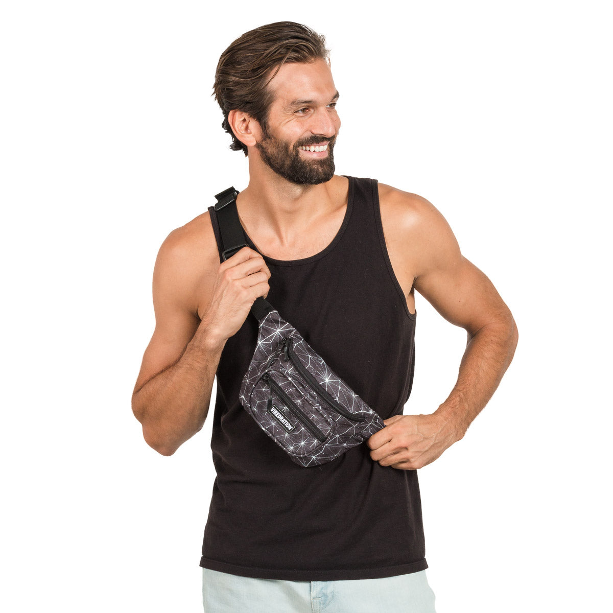 Black Space Printed Fanny Pack for Males